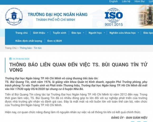 Vụ giảng viên ĐH Ngân hàng TPHCM rơi lầu: Ngân hàng Nhà nước chỉ đạo khẩn