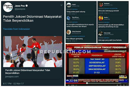Murkanya Bani Cebong Saat Jawapos Sebut Pendukung Jokowi Tak Berpendidikan, Jawapospun Akhirnya Ganti Judul