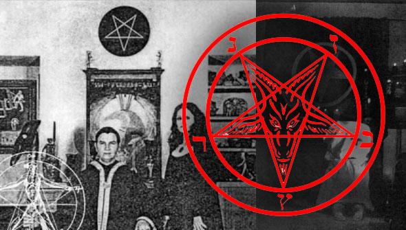 michael aquino junto a su esposa lilith y un pentagrama satánico en el templo de seth