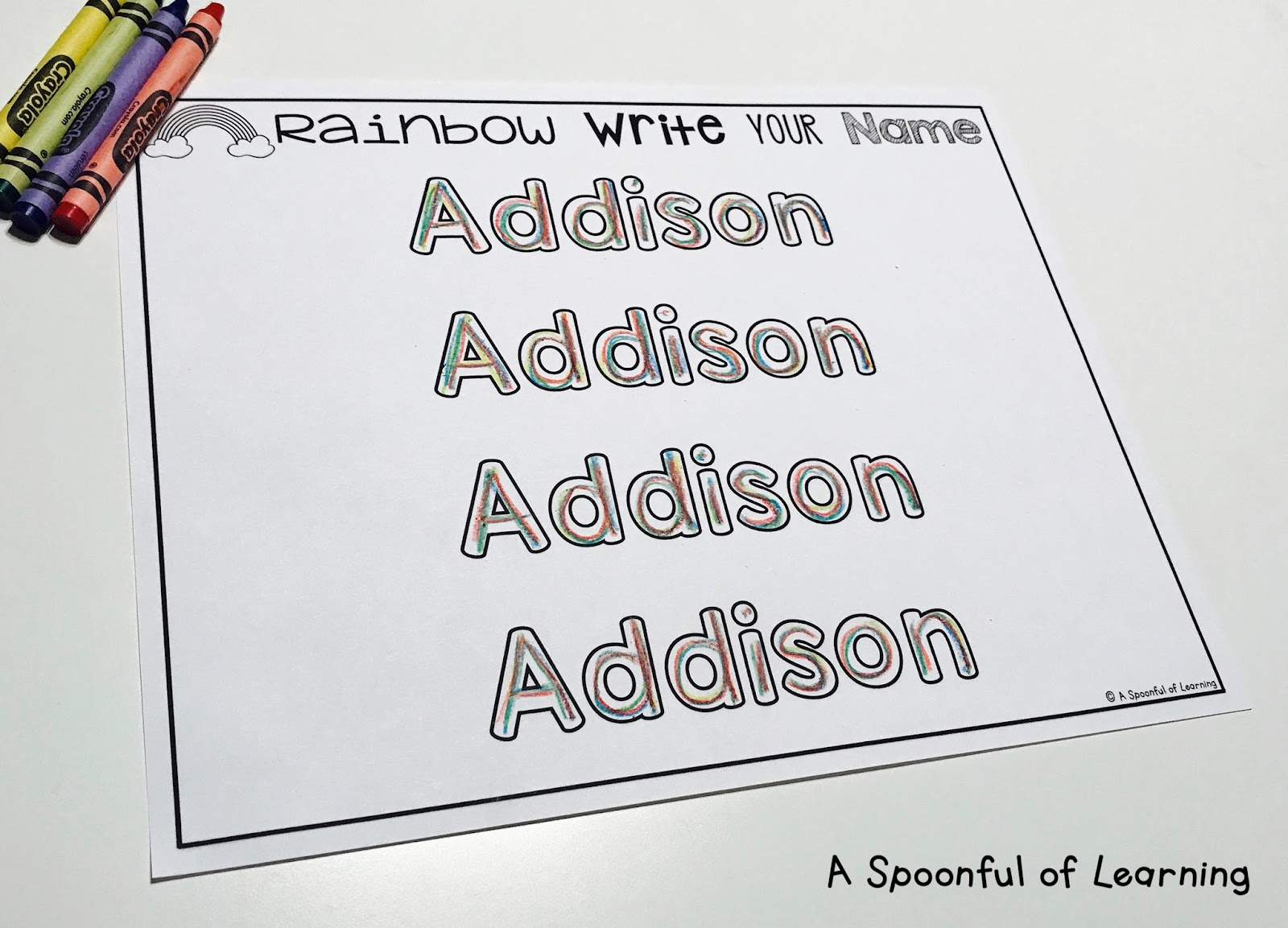 Name Tracing: A Spoonful Of Learning: Name Activities