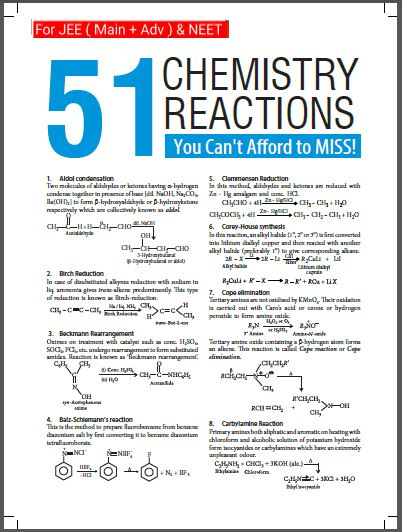 51 Reactions in Organic Chemistry: for all Competitive Exams