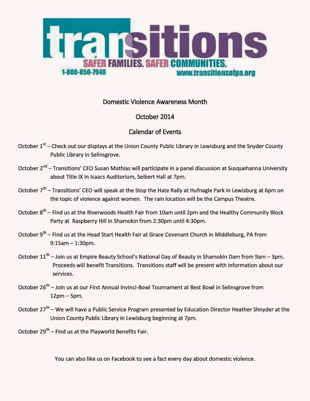Transitioning Times Overview Of Domestic Violence Awareness Month Activities