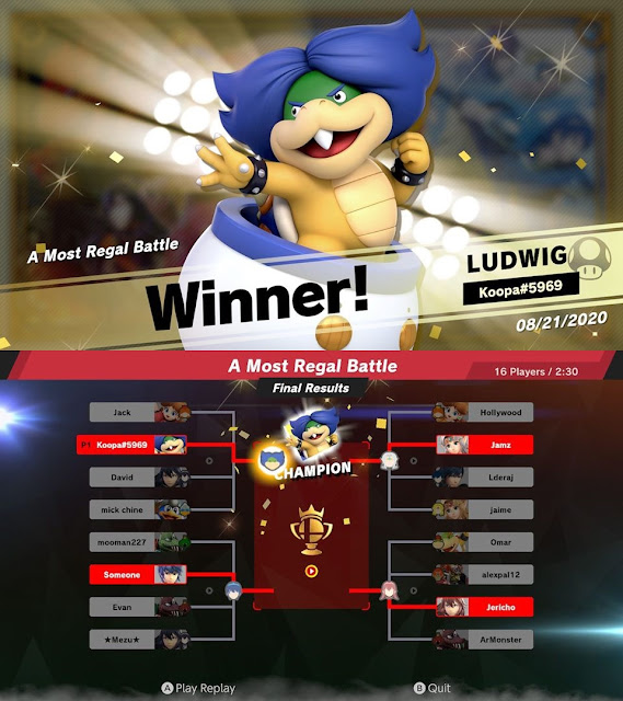 A Most Regal Battle Super Smash Bros. Ultimate event tourney Ludwig Von Koopa winner champion