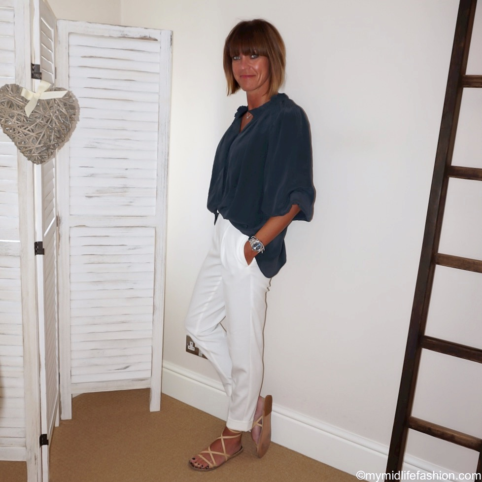 my midlife fashion, Isabel Marant Etoile silk shirt, marks and Spencer drawstring trousers, Ancient Greek leather wrap sandals