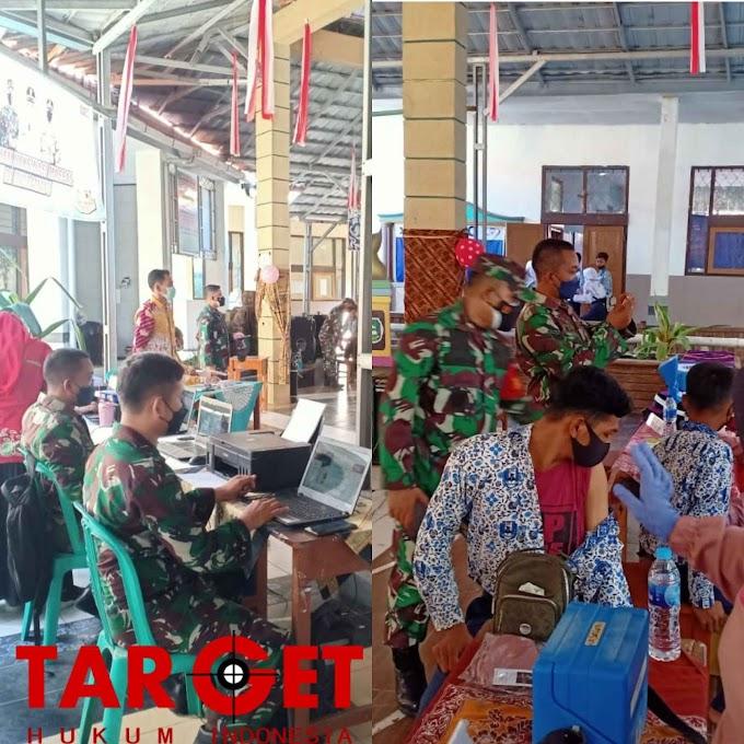 Serbuan Vaksin Kodim 0616 Indramayu Kembali Menyasar Kalangan Pelajar SMP N 1 Patrol