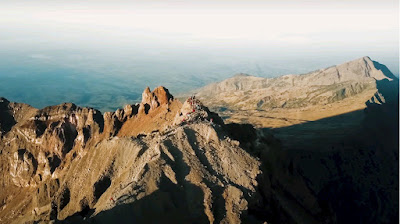 A royalty free of aerial drone shot of Highlands Rinjani Mountain Lombok Indonesia