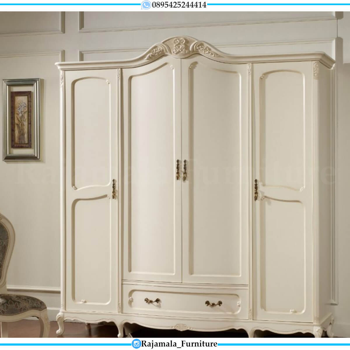 Jual Lemari Baju Mewah Putih Duco Luxury Classic Design Furniture Jepara RM-0557