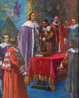 Inauguration of Oliver Cromwell as Lord Protector.