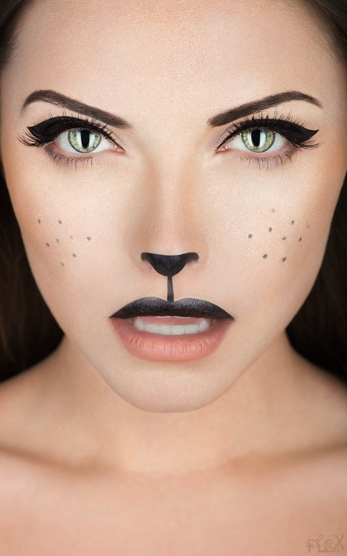 """Doll Face: Creepy meets pretty in this eerie Halloween beauty look. (via Brit + Co) Scarecrow: Our very own beauty editor knows a thing or two about how to wield makeup for a creepy-meets-gorgeous Halloween makeup look. Talk about a new meaning for the phrase """"drop dead gorgeous."""" Purrfect Black Cat: Being a black cat is."""
