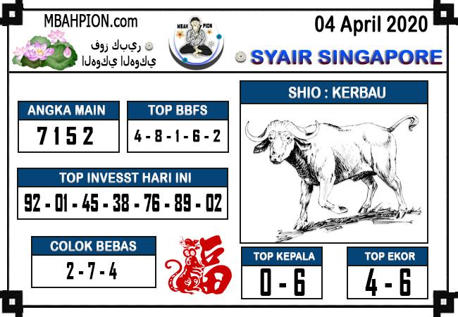 Prediksi Togel Singapura Sabtu 04 April 2020 - Syair Mbah Pion