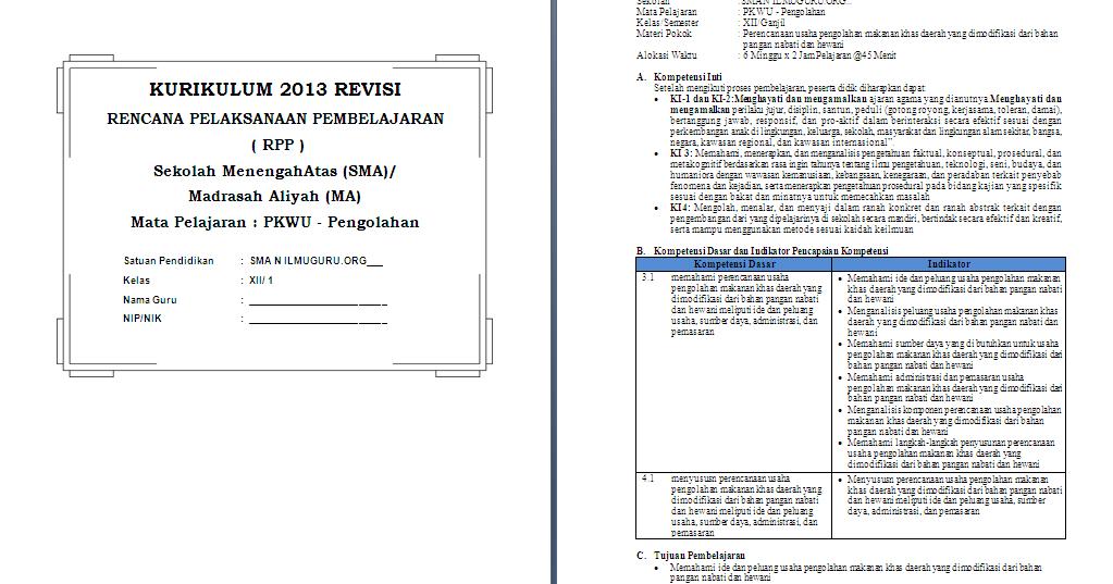 RPP 1 Lembar Prakarya & Wirausaha (Aspek Pengolahan) Kelas ...