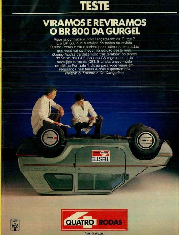 Anúncio da Revista Quatro Rodas em 1989 apresentando o teste do Gurgel BR 800