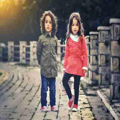 two children having a photo shoot