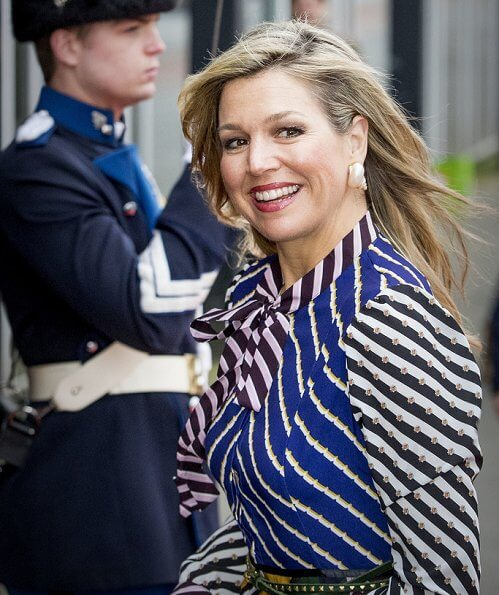 Queen Maxima wore Mary Katrantzou Duritz pussy bow printed crepe de chine maxi dress Natan pumps and clutch. Princess Beatrix style fashions