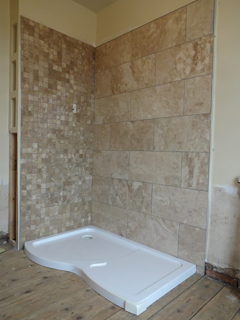 Marble Tile Shower Enclosure