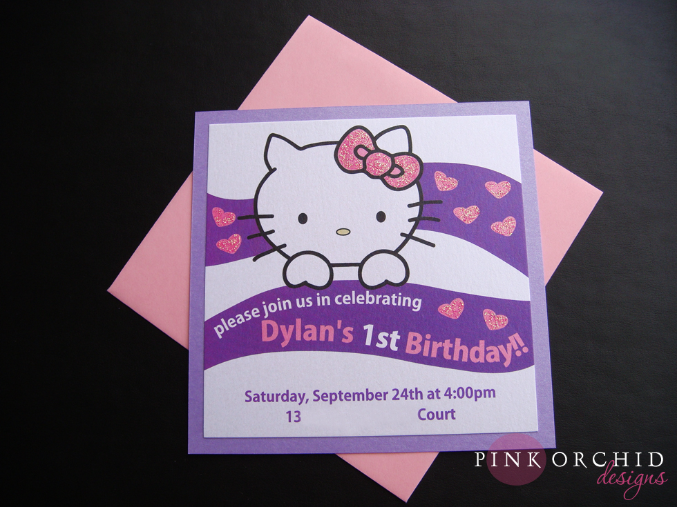 pink orchid weddings dylan s hello kitty birthday invitations