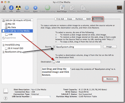 Restore BaseSystem to create bootable USB installer for Mountain Lion