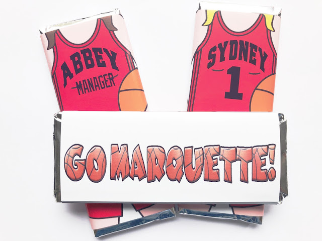 Women's basketball jersey personalized candy bar wrapper