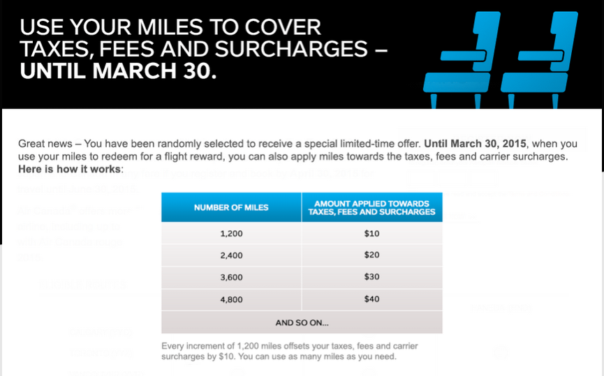 Rewards Canada: Mar 26 Update: Targeted offer to use Aeroplan Miles