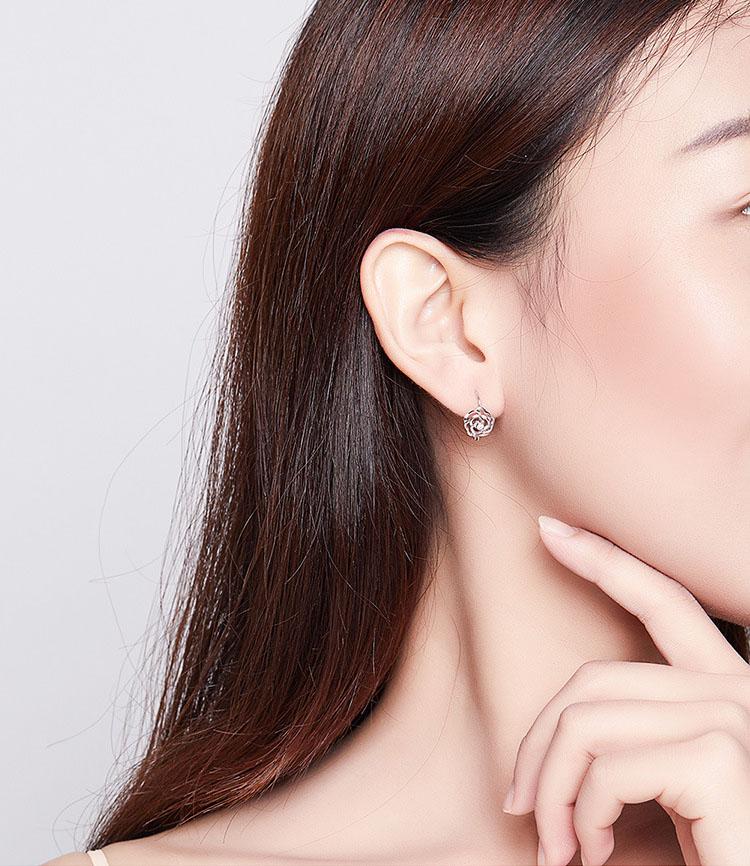 925純銀鏤空玫瑰耳環
