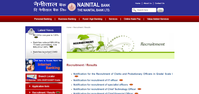 Nainital Bank Clerk, PO Recruitment 2020