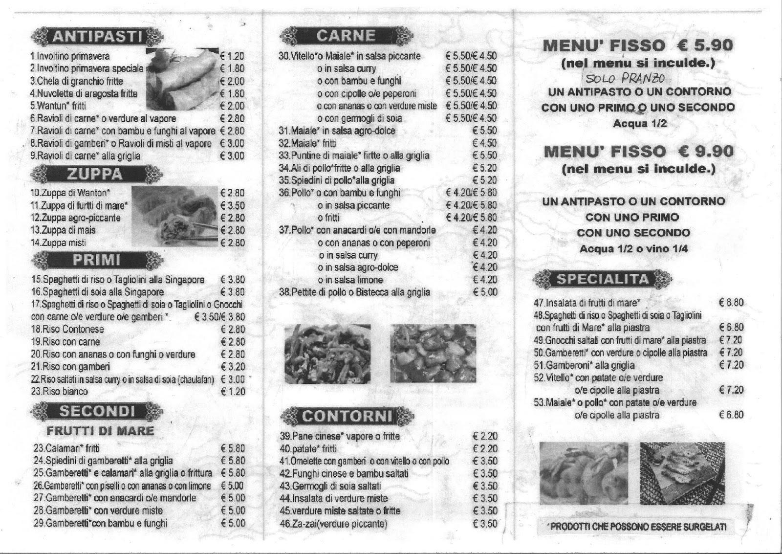 Menu e prezzi ristorante cinese canton a melzo in via cavour for Menu cinese