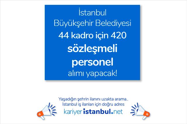 İstanbul Büyükşehir Belediyesi 4B ilanları statüsünde KPSS şartsız 420 sözleşmeli personel alımı yapmak için ilan yayınladı. Detaylar kariyeristanbul.net'te!