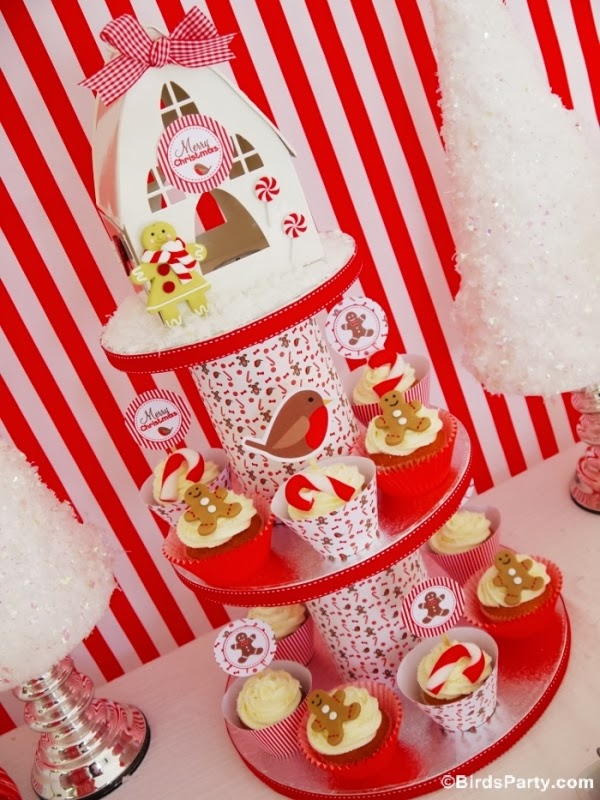 Christmas Candyland Candy Canes Cucpcake Stand DIY - BirdsParty.com