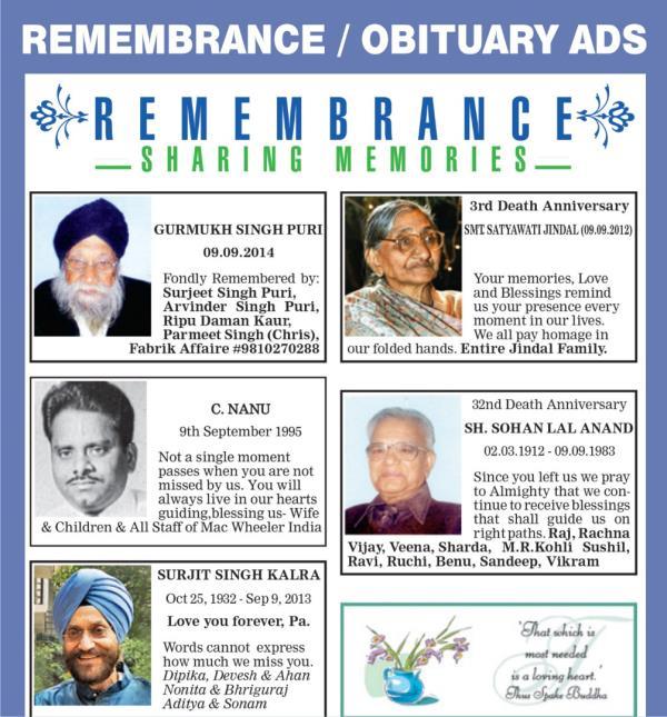 obituary ad samples death