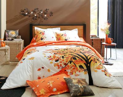 linge de lit sur le thème des arbres