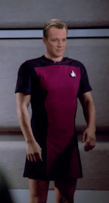 Tom Paris wearing TNG skant uniform
