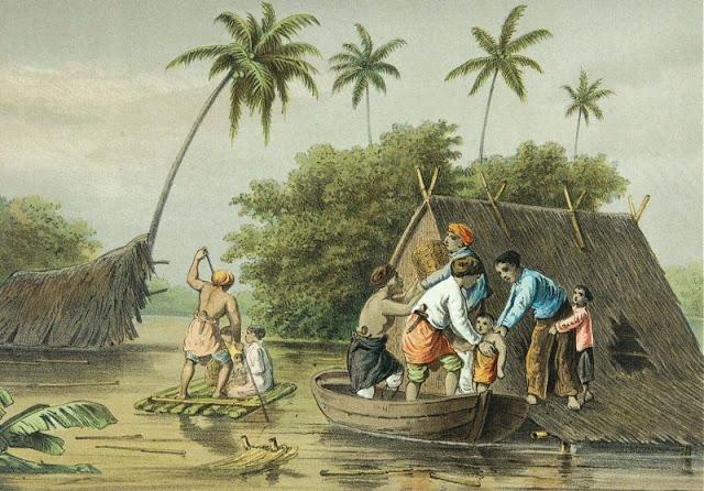 Litografi yang dibuat oleh Josias Cornelis Rappard, menggambarkan penyelamatan orang-orang yang terjebak banjir di sekitar Batavia