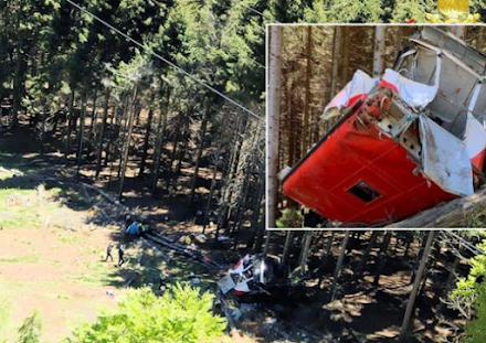 Τραγικό δυστύχημα στην Ιταλία : Συνετρίβη τελεφερίκ σκοτώνοντας τους 14 από τους 15 επιβάτες