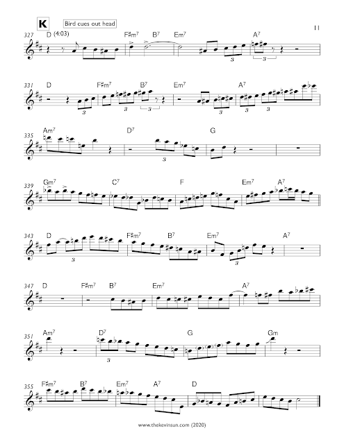 """Fine and Dandy"" – Charlie Parker Solo Transcription (Eb) 1950 Apartment Sessions Page 11"