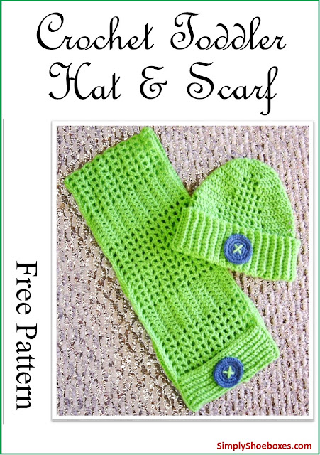 Crochet toddler hat and scarf:  free pattern.  Designed for an Operation Christmas Child shoebox.
