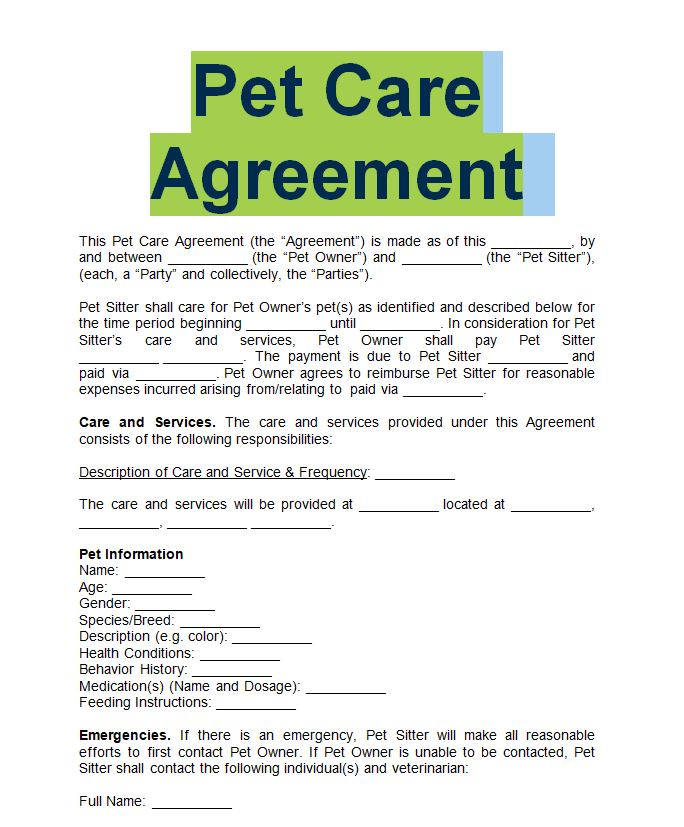 pet sitter forms free