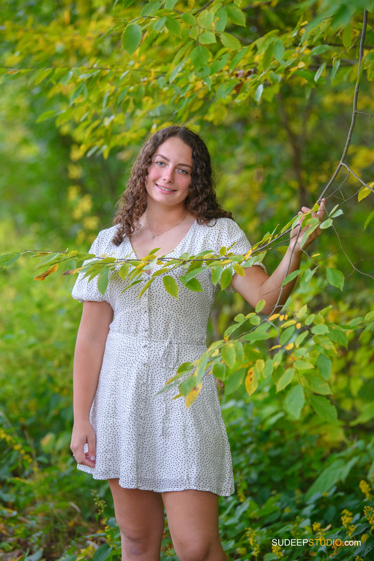 Pioneer High School Girls Senior Portrait in Nature Forest Woods by SudeepStudio.com Ann Arbor Senior Pictures Photographer