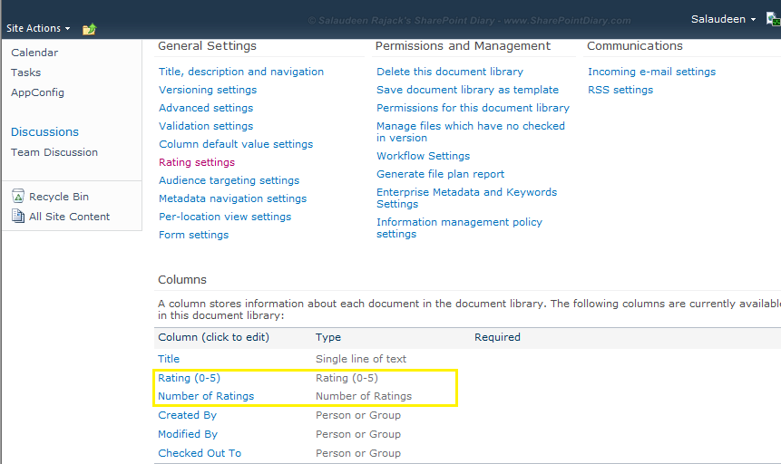 sharepoint 2010 list rating column