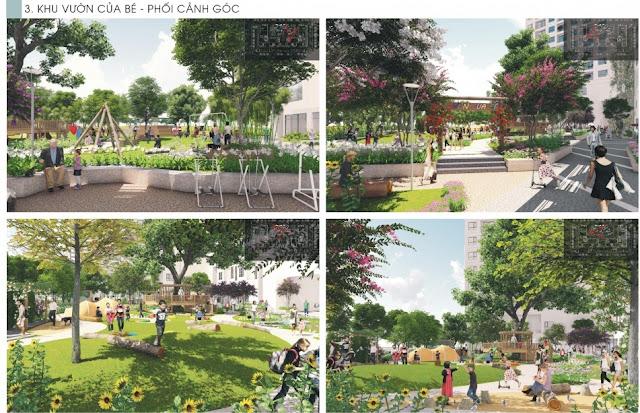 Khu vườn xanh thanh bình tại dự án The K Park