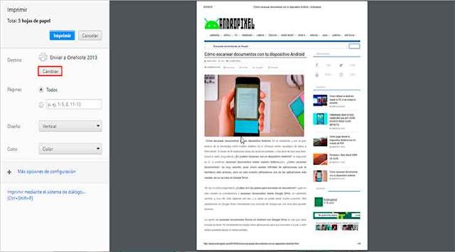 Convertir la página web a PDF