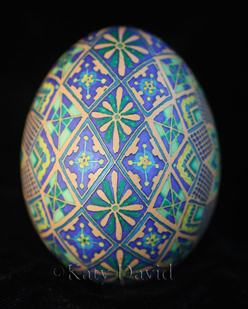"©Katy David 2017 ""Spring Iris"" Chicken egg pysanky in purple and green"