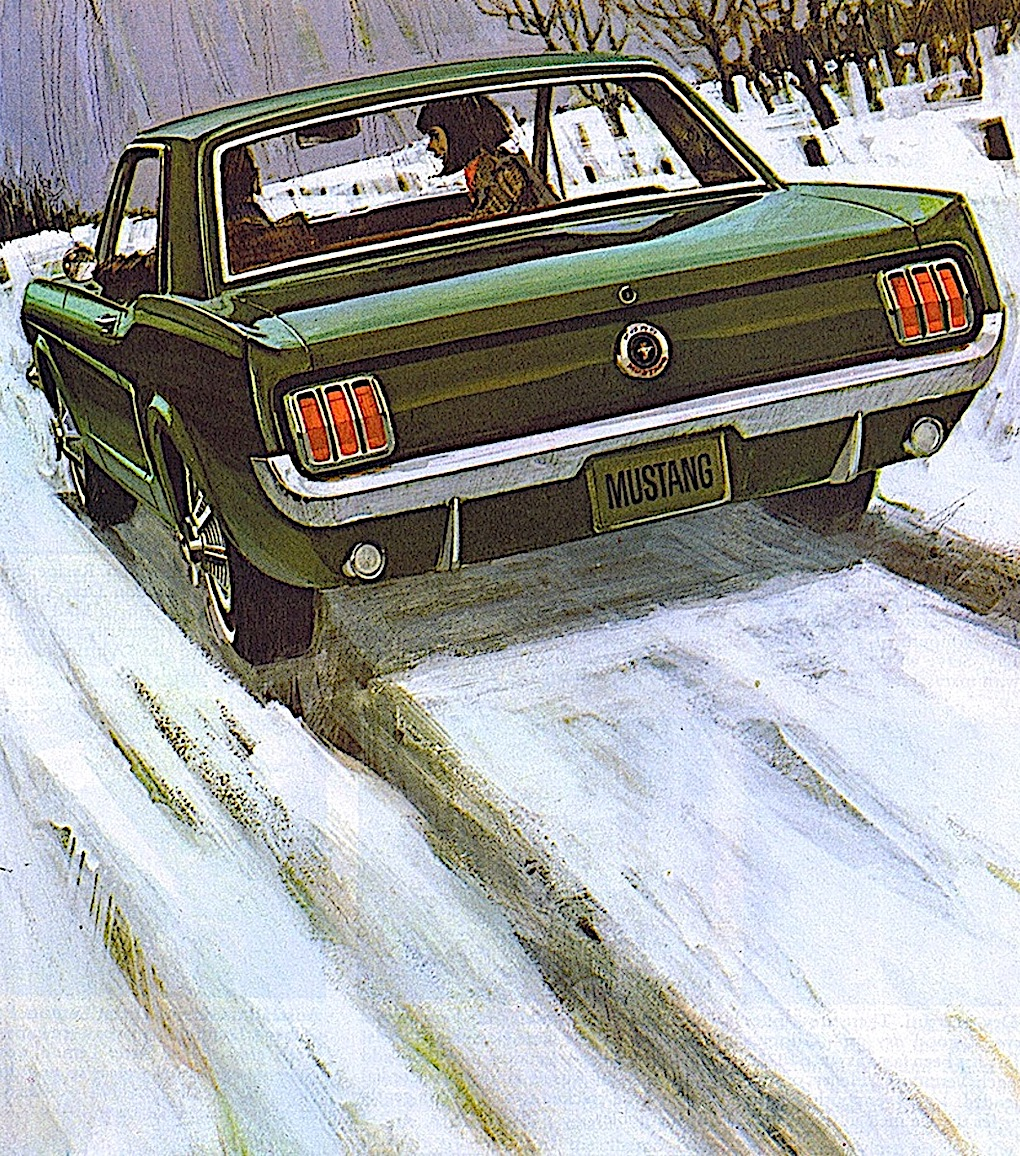 a 1960s Ford Mustang color illustration of a couple driving in winter snow