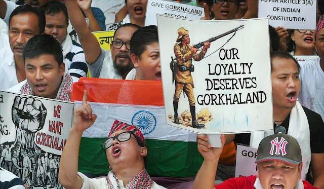 Activists of Gorkhaland Sanyukta Sangharsh Samiti shouting slogans during their demonstration at Jantar Mantar in New Delhi | PTI