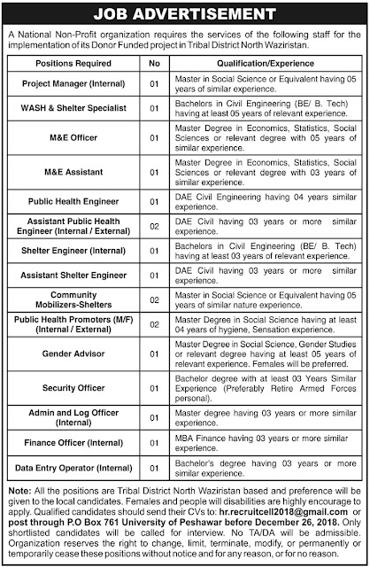 Public Sector Organization North Waziristan Jobs December 2018