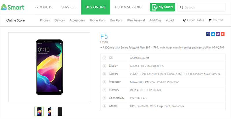 OPPO F5 is now available at Smart's Plan 399