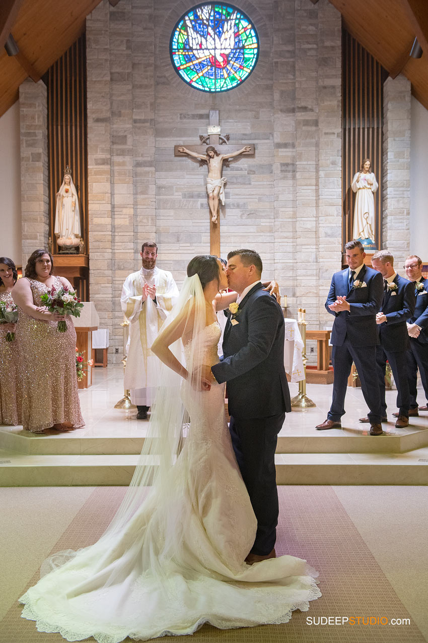 Gorgeous Wedding Kiss in Church SudeepStudio.com Ann Arbor Wedding Photographer