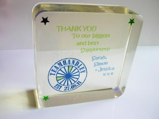 Custom made paperweight with personalised messages
