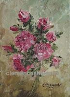 Tout mon amour, gerbe de roses rouges à l'huile 7 x 5, par Clémence St-Laurent