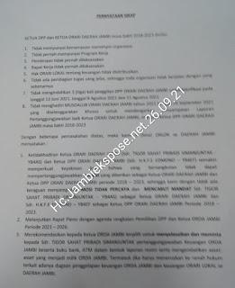 Inilah Surat Pernyataan Sikap Para Orlok Terhadap Ketua Oŕda Jambi Periode 2018-2023