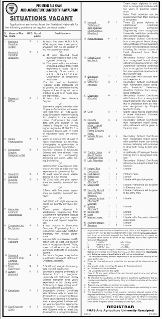 Government Jobs For Non Teaching staff in Arid Agriculture University Rawalpindi